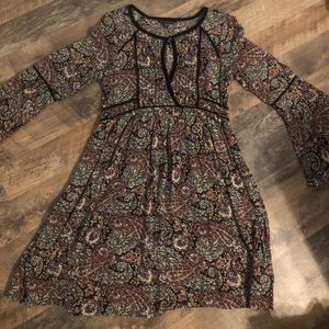 American Eagle keyhole dress with bell sleeves.